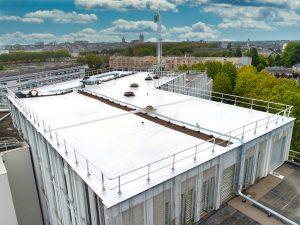 Prises de vue par drone lors d'un lancement de produit. Suivi de chantiers du CHU d'Angers. L'aile Debré est en cours de rénovation. Le système PaintReflect vient