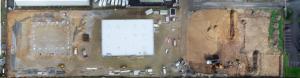 Photographie panoramique réalisée lors d'un suivi de chantier. Il s'agit d'un assemblage d'une dizaine de photos permettant ainsi au client d'observer le chantier dans son intégralité mais également en détail.