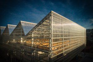 Une photo qui raconte une histoire. Un bâtiment industriel rénové. Magnifique prise de vue aérienne de l'école supérieure des beaux arts à Nantes. Un projet imaginé par l'architecte Franklin Azzi. Le soleil se lève et se reflète dans le Plexiglas, le polycarbonate
