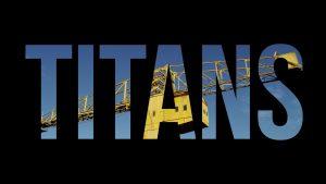 Image d'introduction du court-métrage intitulé Titans et réalisé par Olao et sur le thème des grues Titan de Nantes